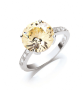 Sterling silver citrine Cubic Zirconia ring with clear shoulder stones